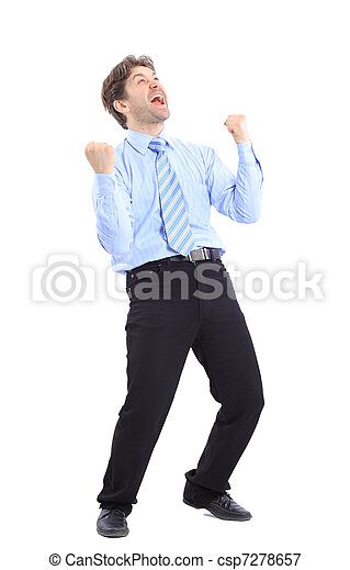 One very happy energetic businessman with his arms raised - csp7278657