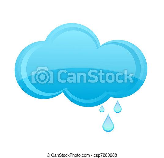 glass rain cloud sign blue color - csp7280288