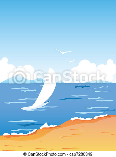 Tropic beach with small white boat floating - csp7280349