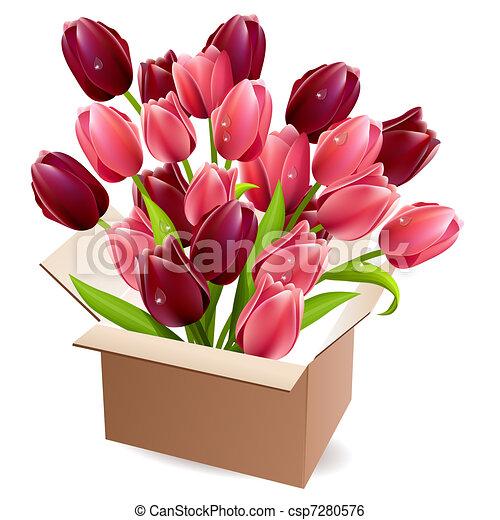 Clip Art Vector Of Open Box Full Of Tulips Open Box Full