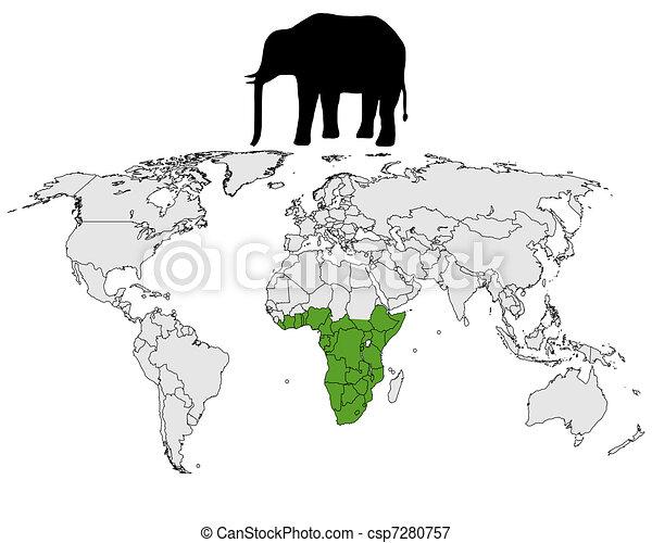 African elephant range - csp7280757