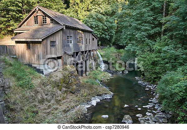 grist, riacho, histórico, cedro, ao longo, Moinho - csp7280946