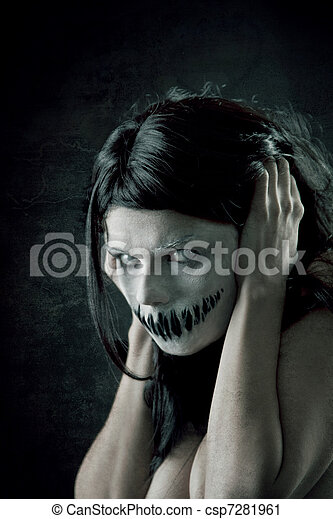 Horrible girl with scary mouth - csp7281961