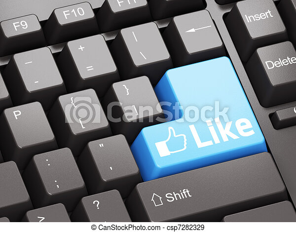 Black keyboard with blue Like button - csp7282329
