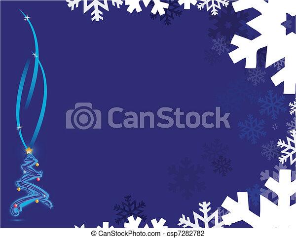 christmas tree and snow flakes - csp7282782