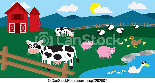 Ilustraciones vectoriales de granja, corral, animales - caricatura ...