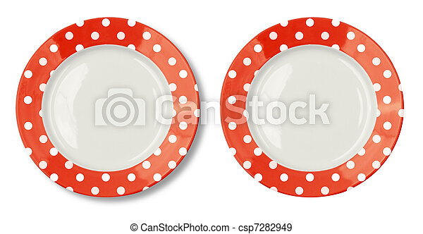 Round plate with red border isolated on white with  included - csp7282949
