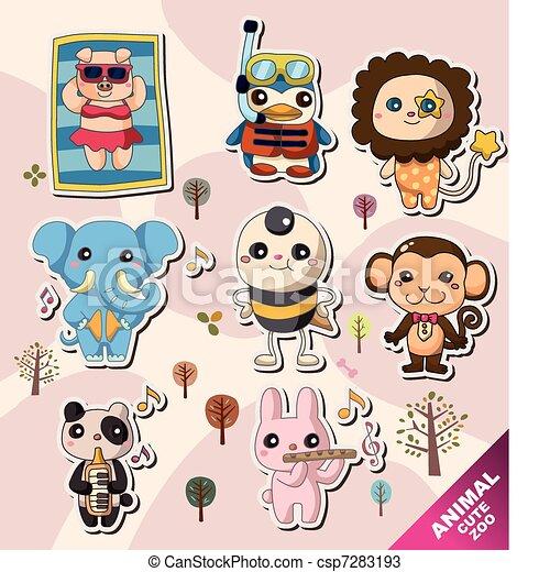 cartoon animal icons - csp7283193