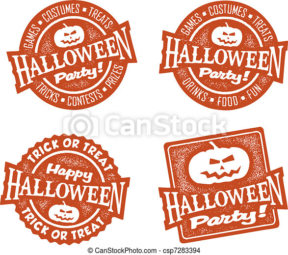 Happy Halloween Party Stamps - csp7283394