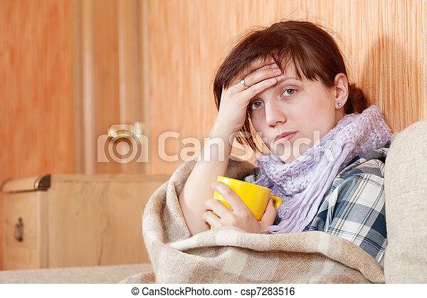 illness woman drinking hot tea - csp7283516