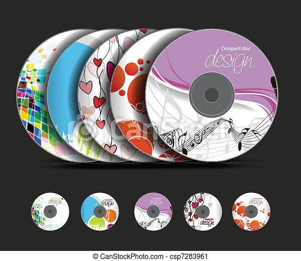 cd case artwork template - vector clip art of cd cover design template set of