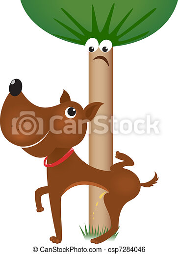 Dog urinating on tree - csp7284046