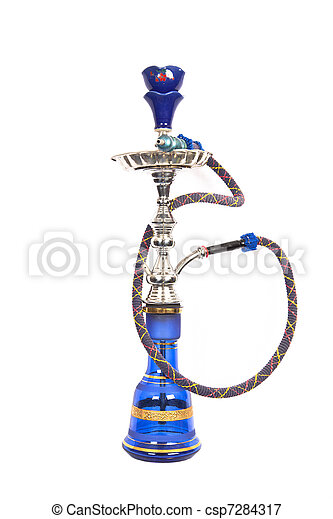 Isolated blue and silver arabic waterpipe - csp7284317