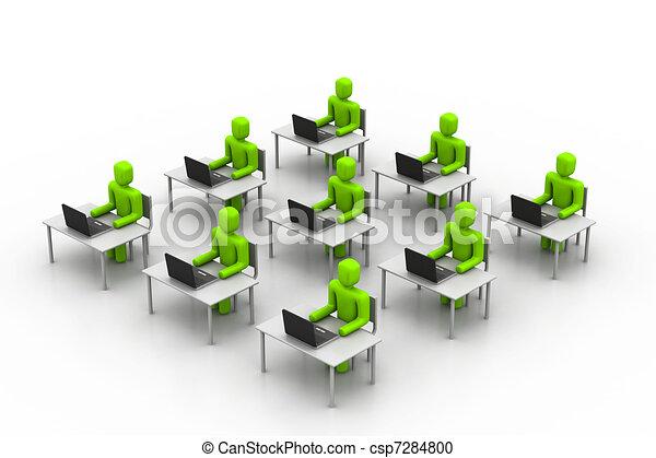 pessoas, trabalhando, escritório - csp7284800