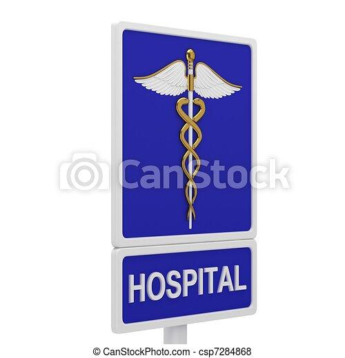 Hospital road sign - csp7284868