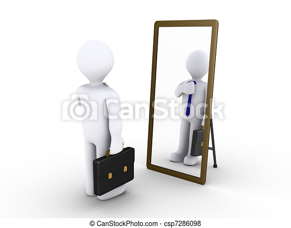 Businessman looking in the mirror - csp7286098