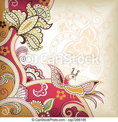 Abstract Floral and Bird - csp7286195