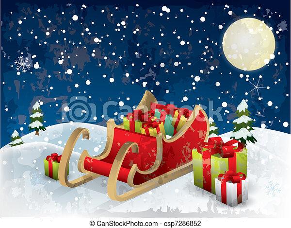 Santa?s sleigh tree and snow - csp7286852