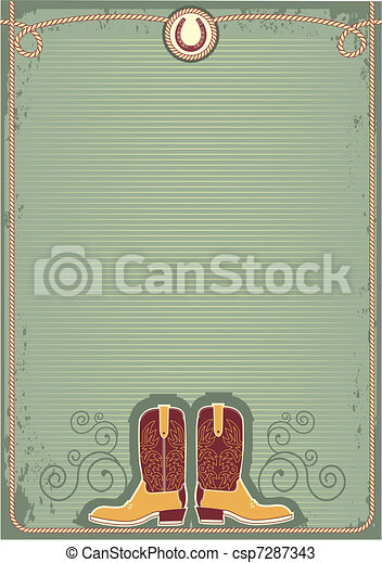 Cowboy boots.Vintage western decor background with rope and horseshoe - csp7287343