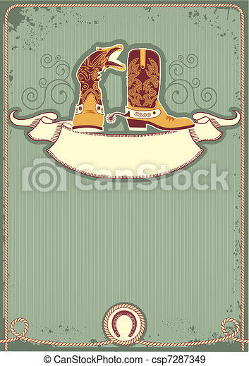 Cowboy boots.Vintage western decor background with rope and horseshoe - csp7287349