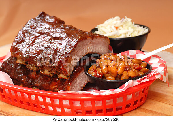 BBQ Ribs with beans and cole slaw - csp7287530