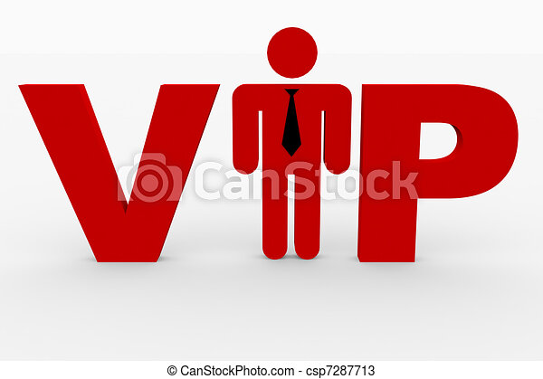 Red 3D text VIP on white. Man replacing i letter. - csp7287713
