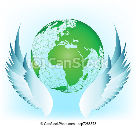 Wing with world. Vector illustration - csp7288578