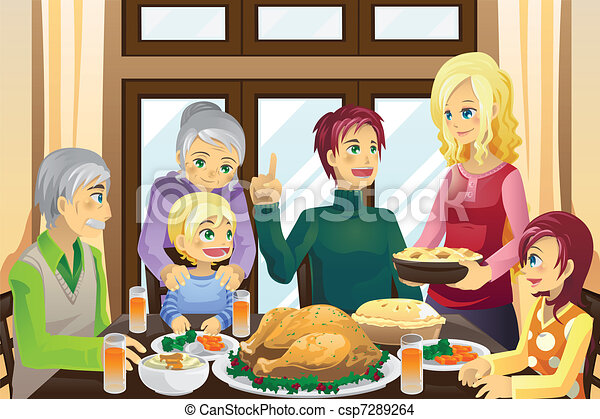 Thanksgiving family dinner - csp7289264