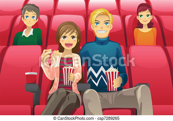 Clipart Vector Of Couple Watching Movie - A Vector Illustration Of A Couple... Csp7289265 ...