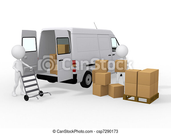 3d workers loading boxes to a van - csp7290173
