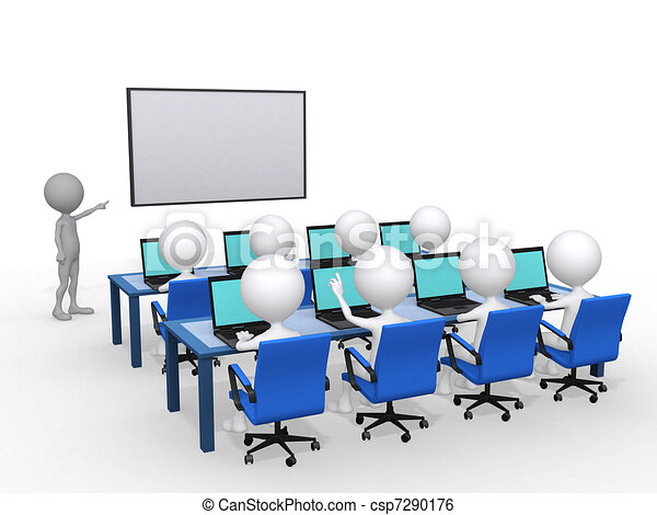 3d person with pointer in hand close to board, concept of education and learning, 3d render illustration - csp7290176