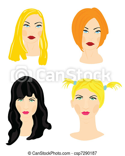Feminine hairs and hairstyles - csp7290187