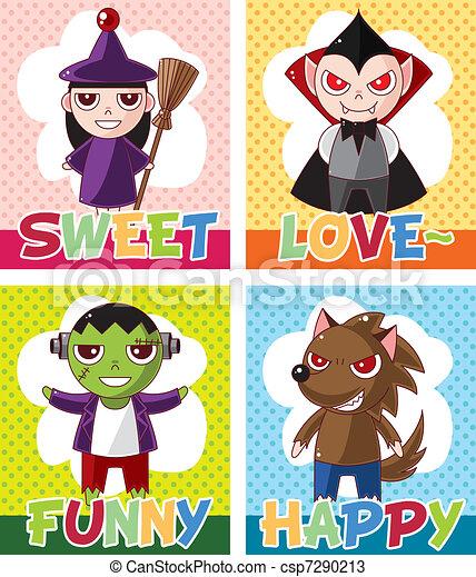 Cartoon Halloween card - csp7290213
