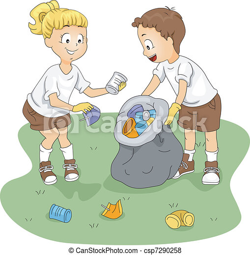 Vector Of Camp Cleaning Illustration Of Kids Cleaning Up