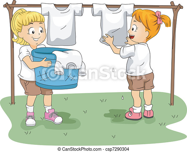 Kids Hanging Clothes - csp7290304
