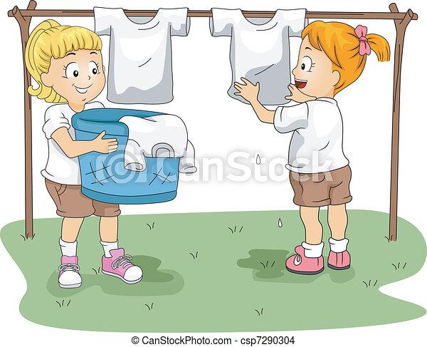 Kids Hanging Clothes - csp7290304