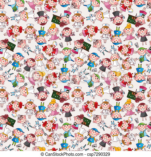 cartoon people job seamless pattern - csp7290329