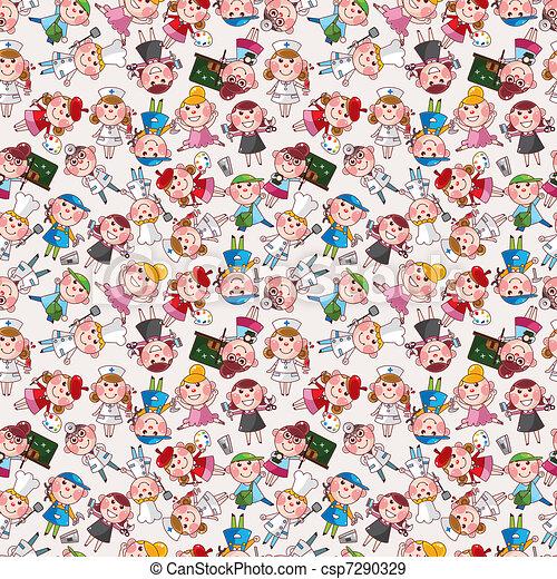 cartoon people job seamless pattern - csp7290329