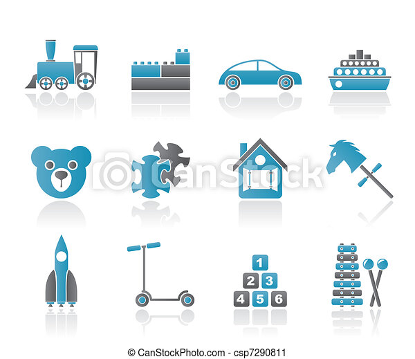 Different Kinds of Toys Icons  - csp7290811