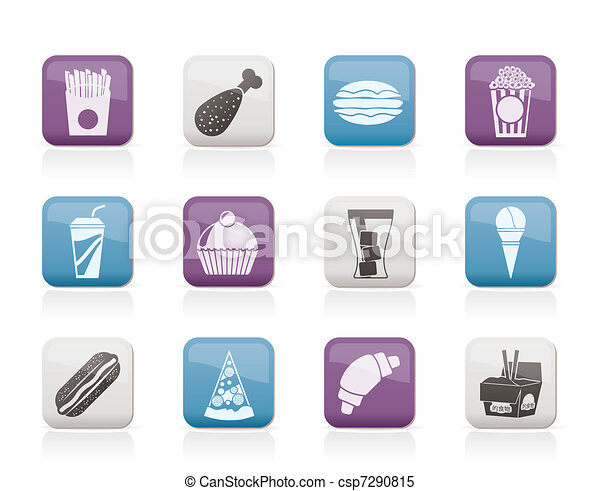 fast food and drink icons - csp7290815