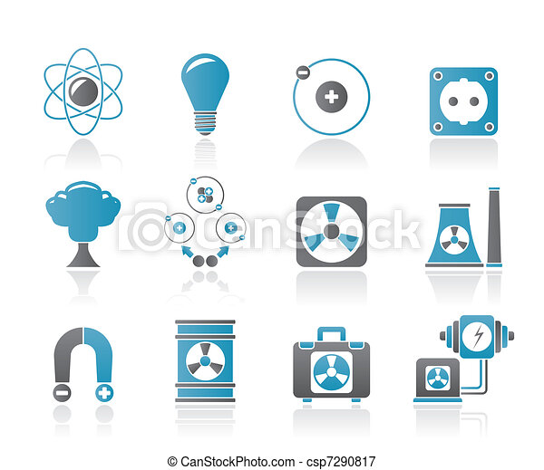 Atomic and Nuclear Energy Icons - csp7290817