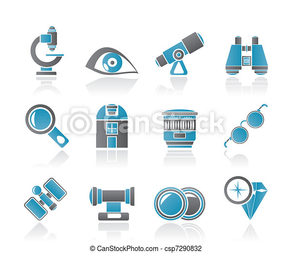 Optic and lens equipment icons  - csp7290832