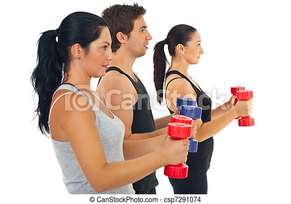 Group of people with barbell - csp7291074