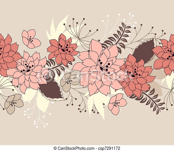 Seamless pastel pink border with forest flowers and plants - csp7291172