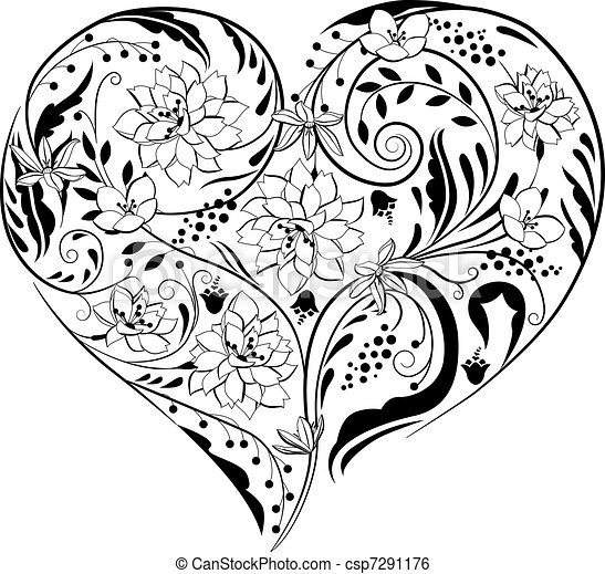 Black and white plants and flowers in heart shape - csp7291176