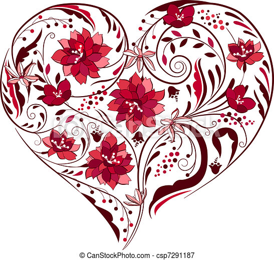 Black and white plants and flowers in heart shape - csp7291187