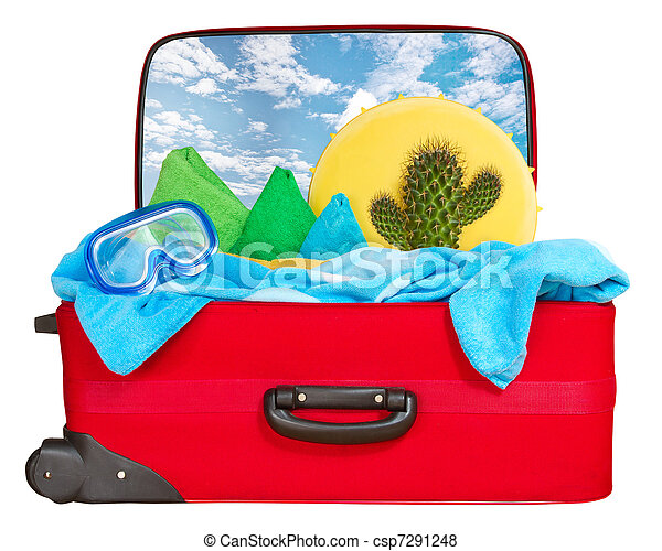Travel red suitcase packed for vacation  - csp7291248