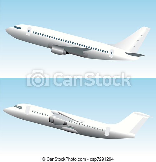 Blanc Commercial Airplanes Set - csp7291294