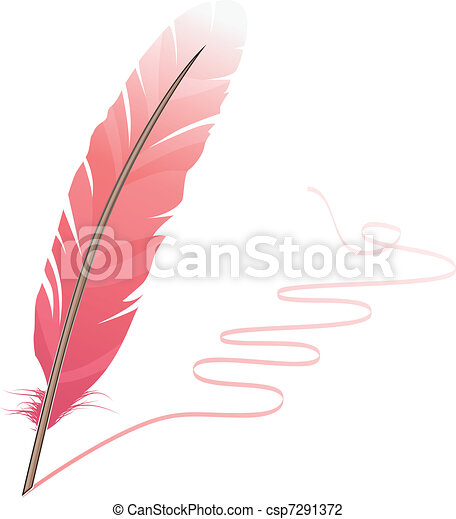Pink feather and flourish isolated on white background - csp7291372