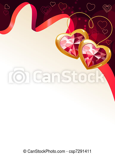 Saint valentine greeting card with ruby jewels - csp7291411